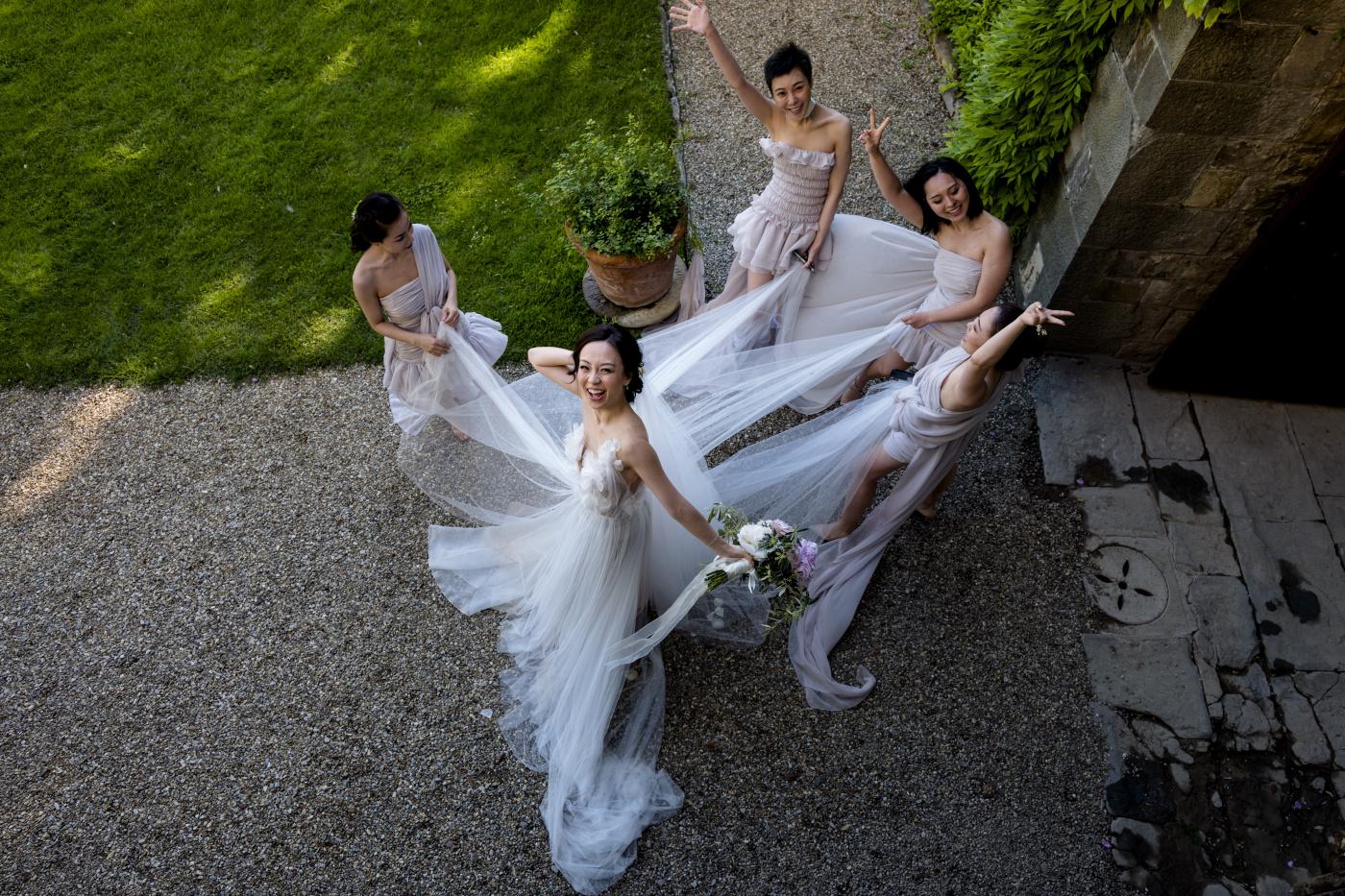Bridal party with elegant dresses