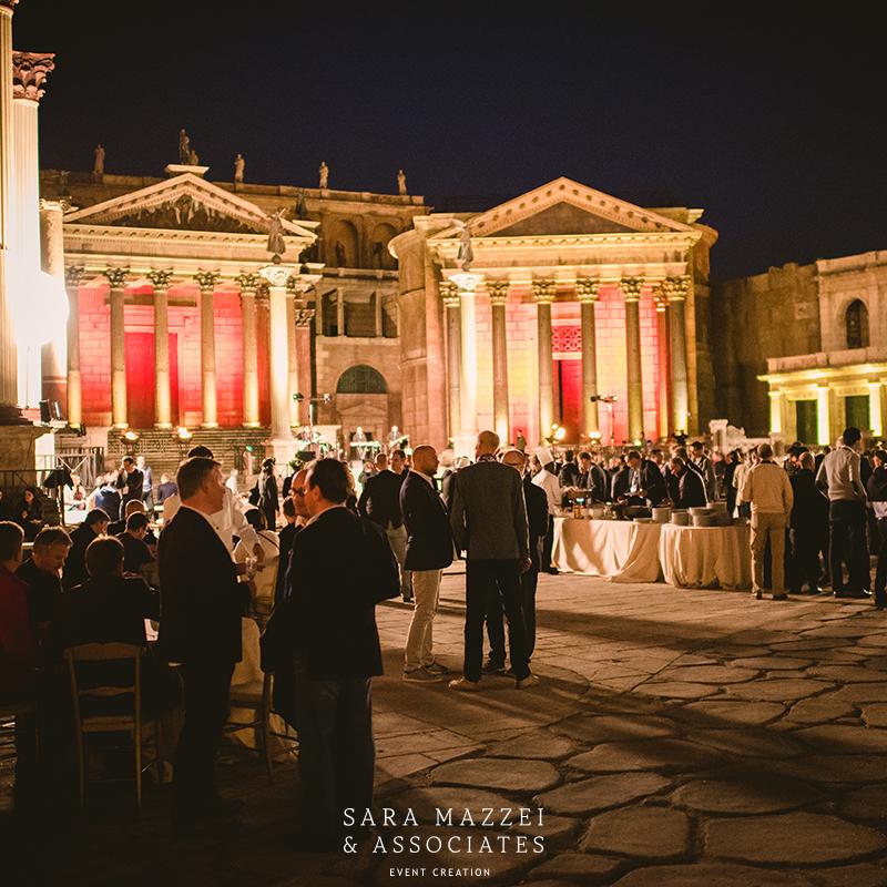Corporate event setting ancient Rome cinecittà