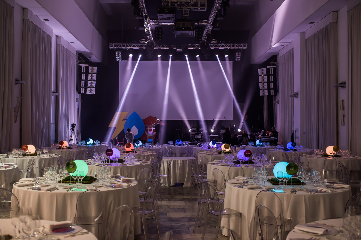 Stage and lights for corporate dinner event in rome
