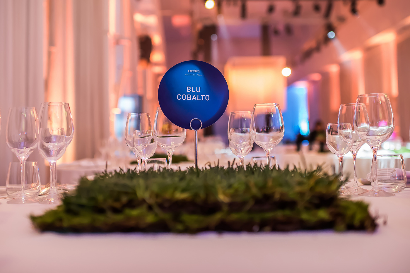 Table decor with real grass for corporate event rome