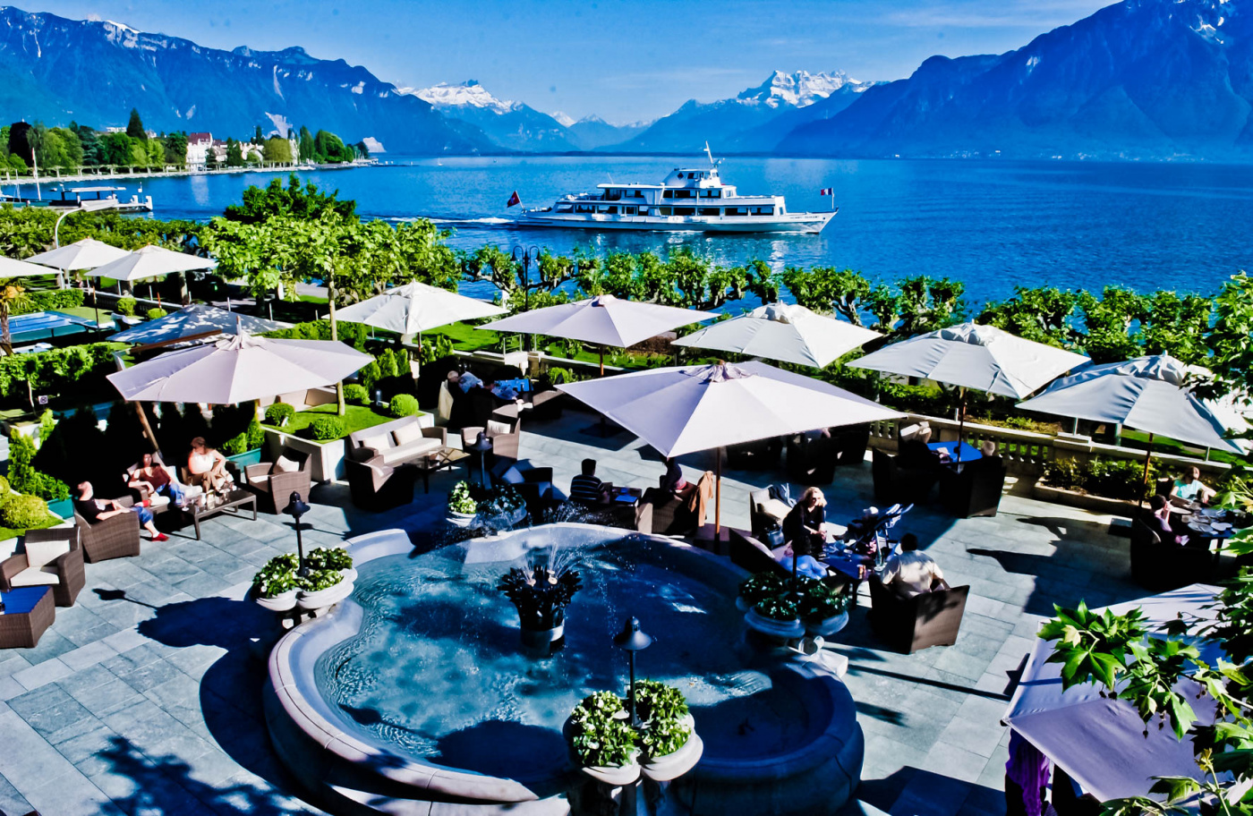 Terrace with lake view in Switzerland for luxury weddings