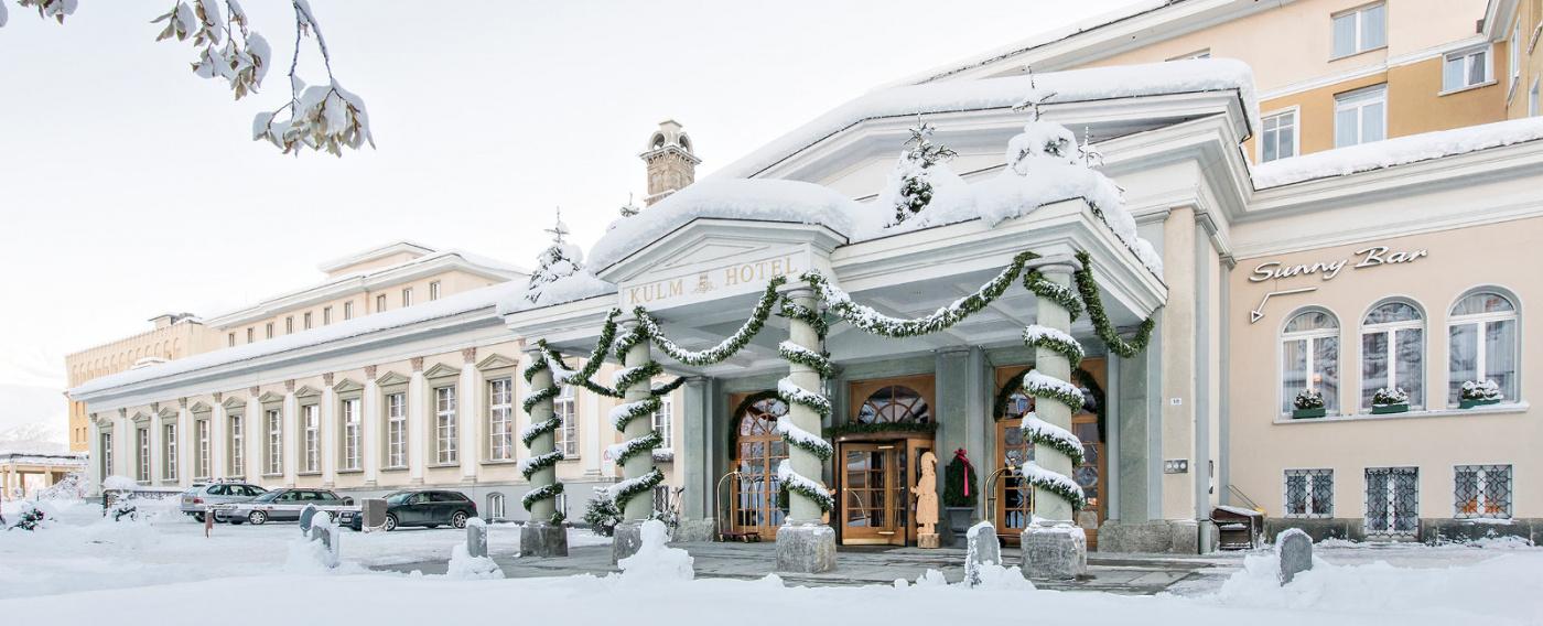 Winter decors entrance luxury hotel Saint Moritz