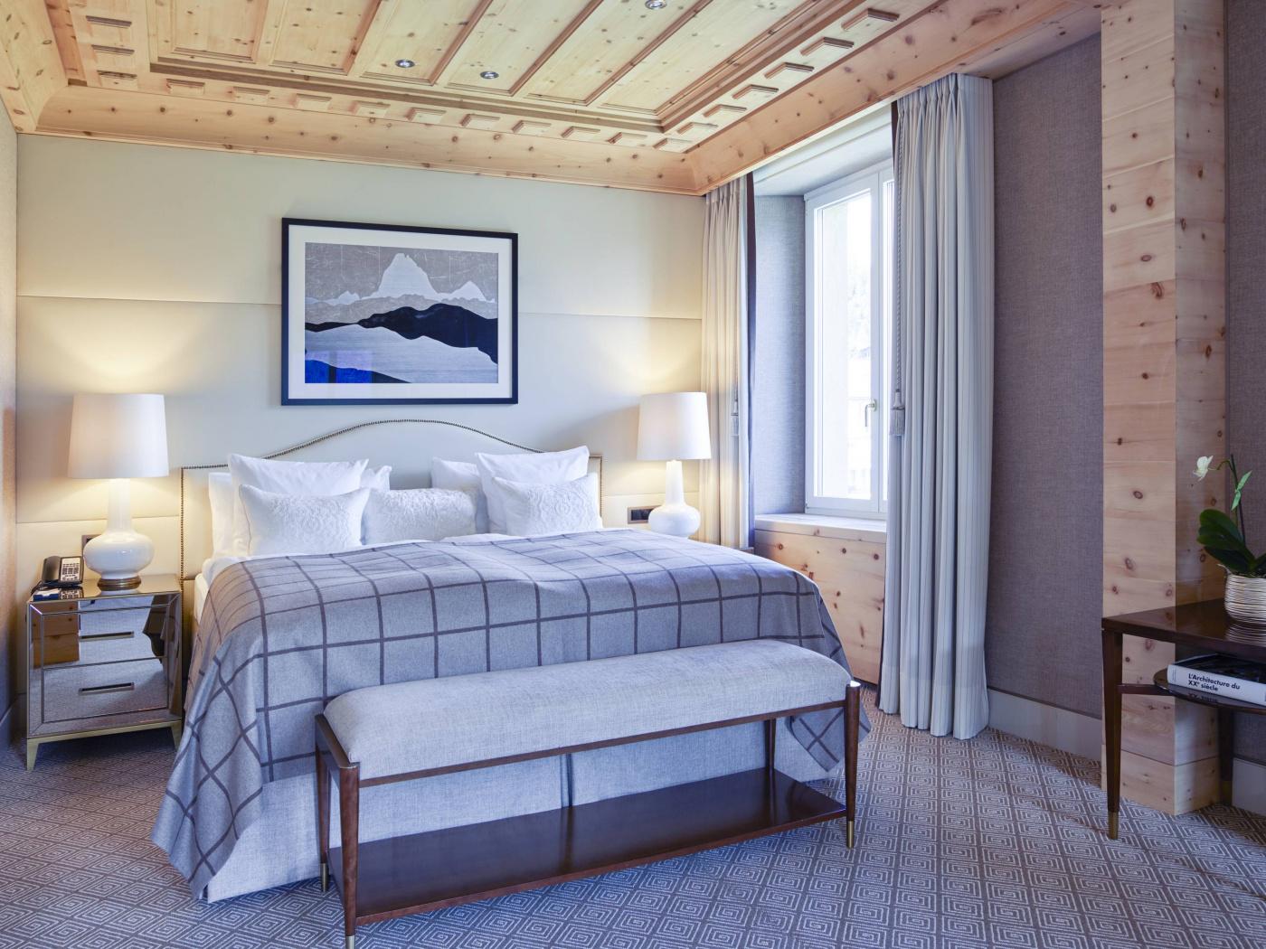Elegant bedroom suite luxury hotel Saint Moritz