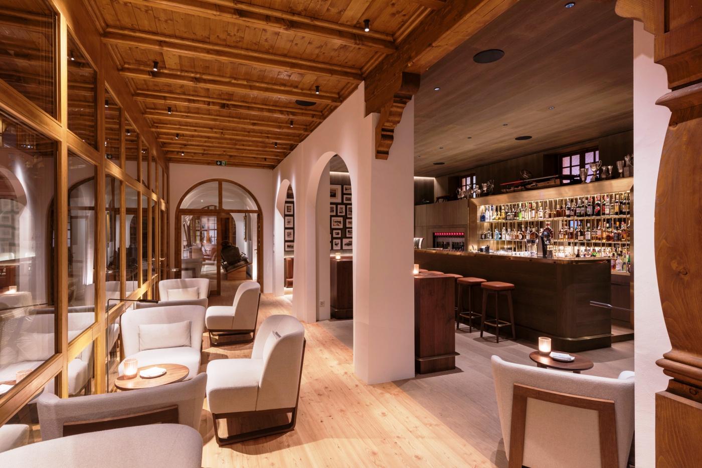 Lounge bar with armchairs luxury kulm hotel