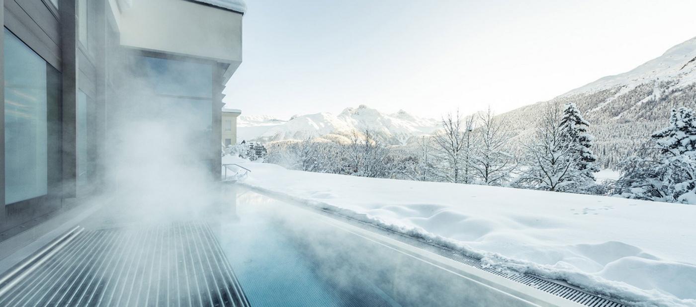 Outdoor swimmingpool in winter saint moritz hotel